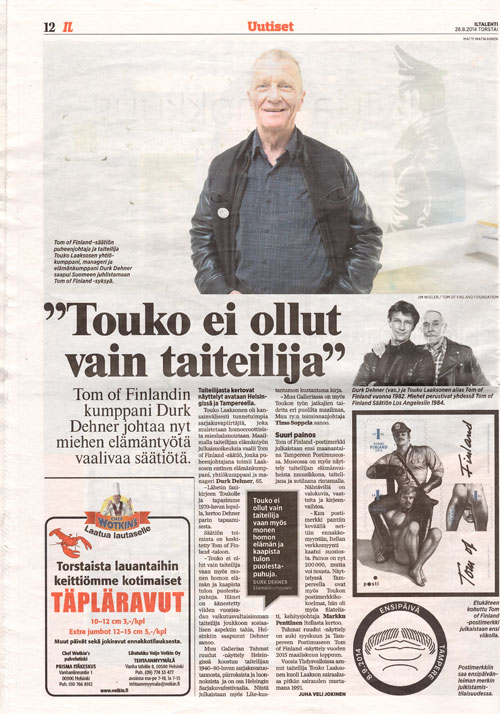 """Download as PDF: """"Touko ei ollut vain taiteilija"""" article in Iltalehti"""